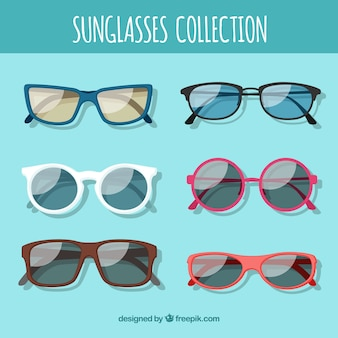 Colección de gafas de sol de temporada en estilo plano