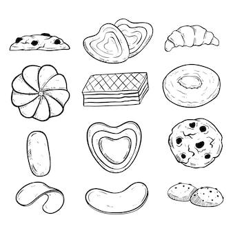 Colección de galletas en blanco y negro con estilo dibujado a mano.