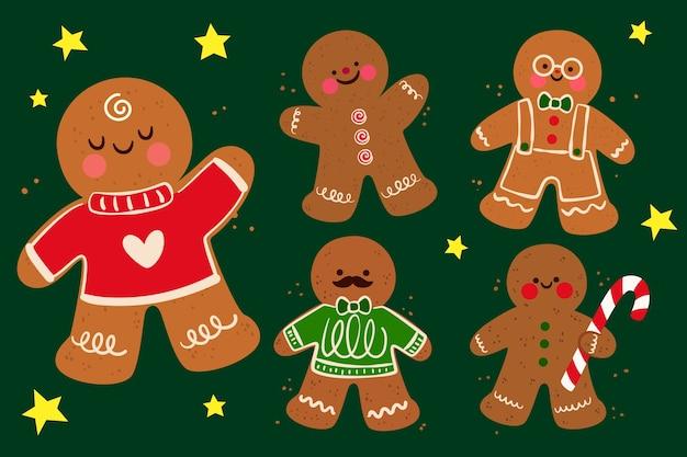 Colección de galletas gingerbread man en diseño plano