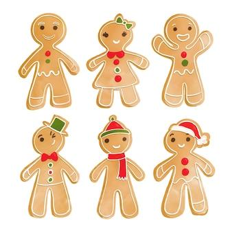 Colección de galletas de hombre de jengibre en acuarela