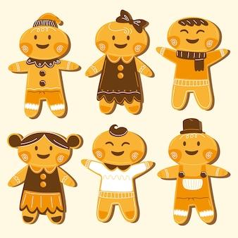 Colección de galletas hombre de jengibre dibujadas a mano
