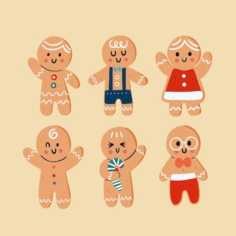 Colección galletas hombre jengibre dibujadas a mano