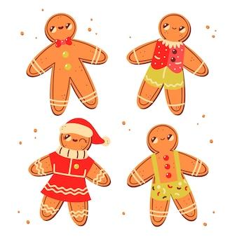 Colección de galletas de hombre de jengibre dibujado a mano