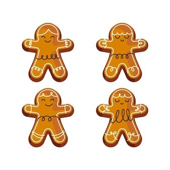 Colección de galletas de hombre de jengibre en diseño plano