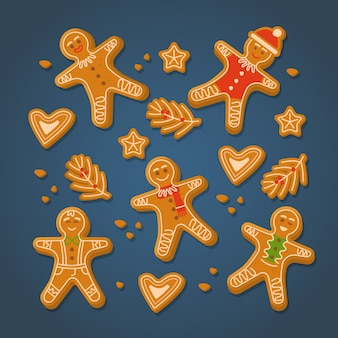 Colección de galletas de hombre de jengibre de diseño plano