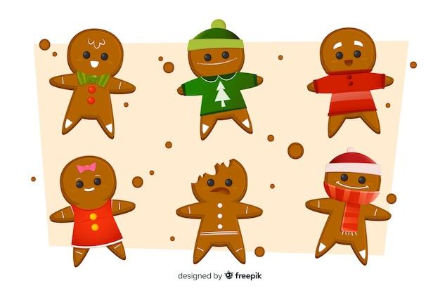 Colección de galletas de hombre de jengibre para navidad