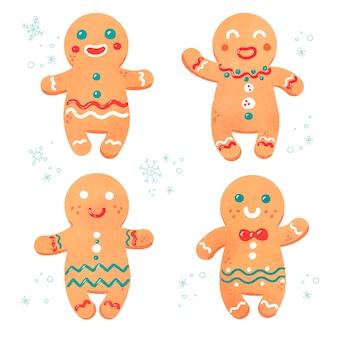 Colección de galletas de hombre de pan de jengibre de acuarela