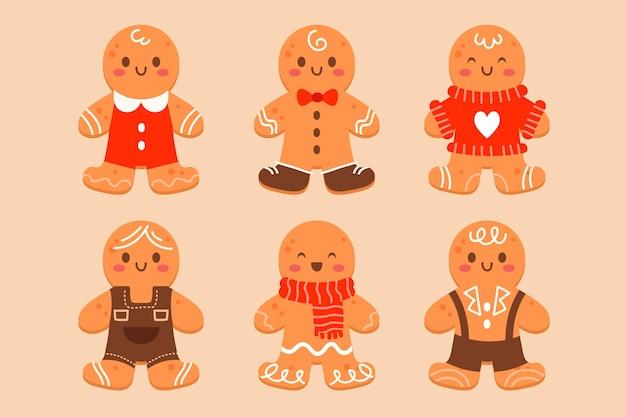 Colección galletas hombre pan de jengibre planas dibujadas a mano
