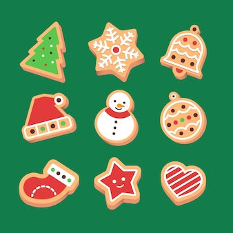 Colección de galletas de jengibre de diseño plano