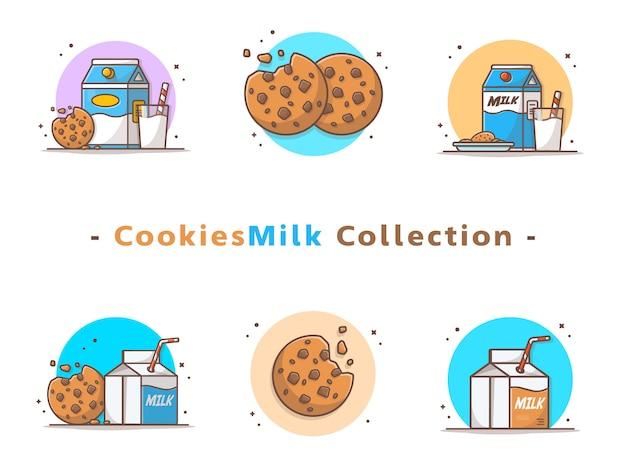 Colección de galletas y leche