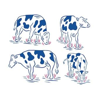 Colección de ganado retro o vaca en la ilustración de la granja