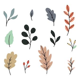 Colección de garabatos de clip art de vector de follaje de otoño dibujados a mano.