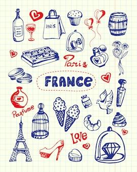 Colección de garabatos dibujados con pluma de símbolos de francia