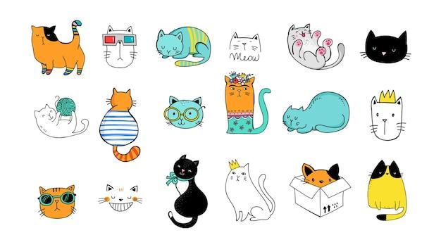 Colección de garabatos de gatos