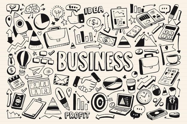 Colección de garabatos monocromáticos de negocios.