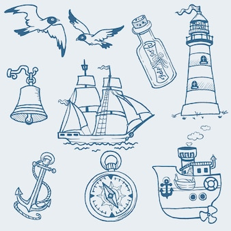 Colección de garabatos náuticos dibujados a mano