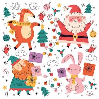 Colección garabatos navideños dibujados a mano