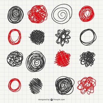 Colección de garabatos rojos y negros