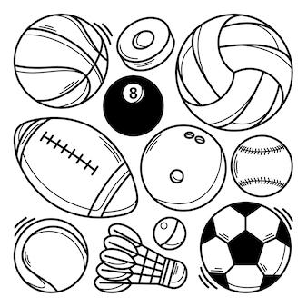 Colección de garabatos de varios tipos de balones deportivos.