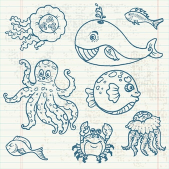 Colección de garabatos de vida marina dibujados a mano