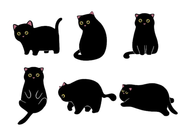 Colección gato negro dibujado a mano