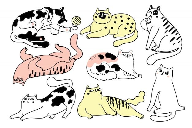 Colección de gatos graciosos. paquete de varios gatos de dibujos animados aislados ilustración dibujada a mano