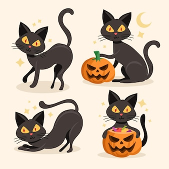 Colección de gatos de halloween dibujados a mano