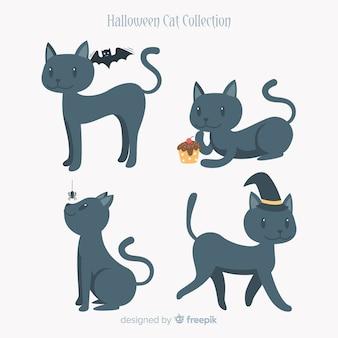 Colección de gatos de halloween en diferentes posiciones