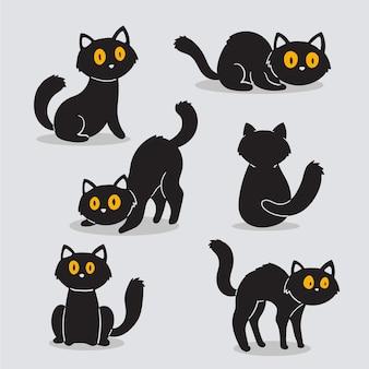 Colección de gatos de halloween de diseño dibujado a mano