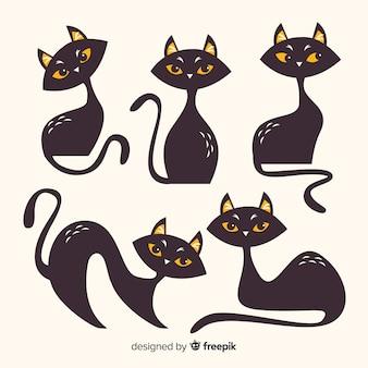 Colección de gatos de halloween en diseño plano