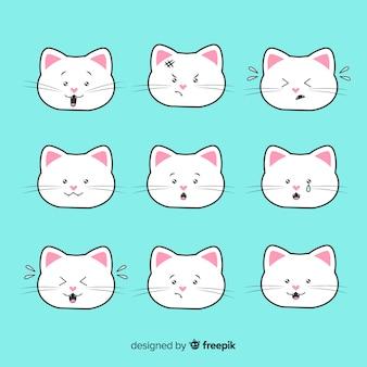 Colección gatos kawaii dibujados a mano
