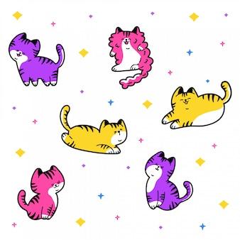 Colección de gatos kawaii