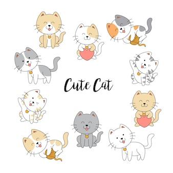 Colección de gatos lindos dibujados a mano
