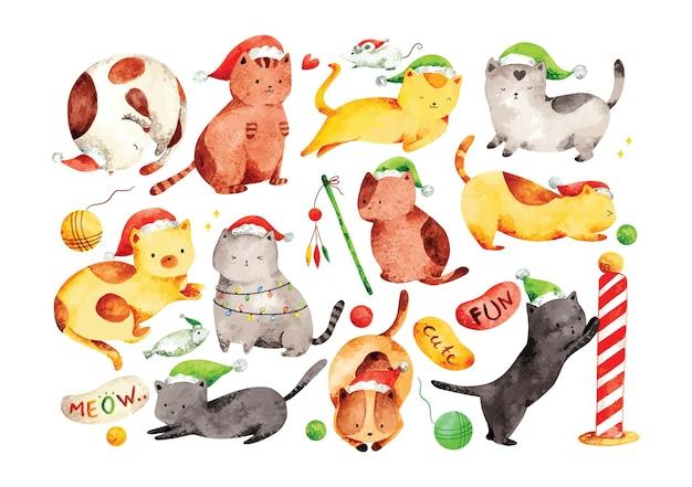 Colección de gatos lindos en estilo acuarela