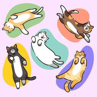 Colección de gatos lindos ilustración premium doodle