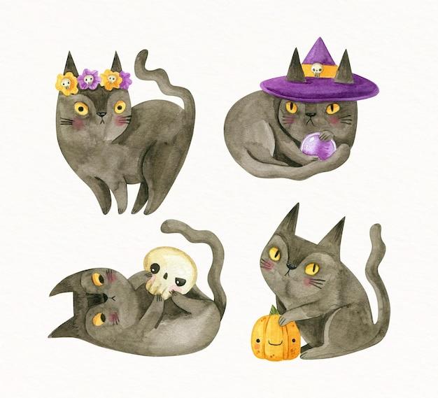 Colección de gatos negros de halloween en acuarela