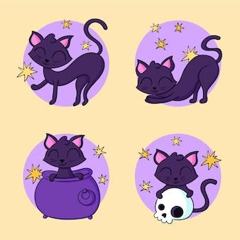 Colección de gatos negros de halloween dibujados a mano