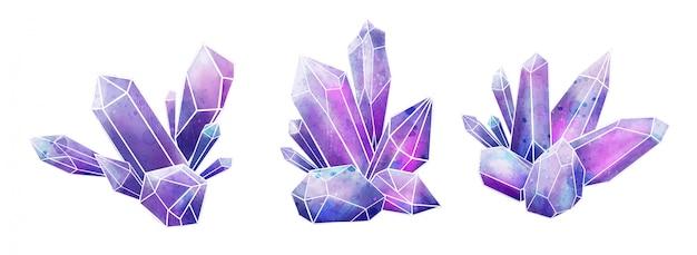 Colección de gemas galaxy, cristales húmedos de acuarela, dibujados a mano