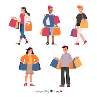 Colección de gente cargando con bolsas de la compra