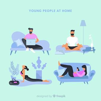 Colección gente en casa dibujada a mano