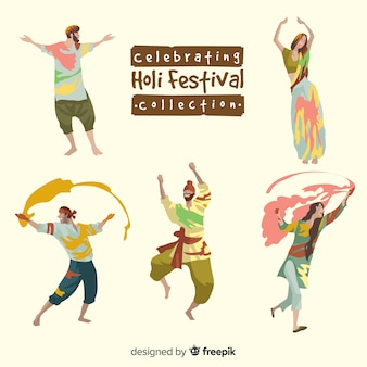 Colección gente celebrando festival holi