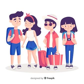 Colección gente dibujada a mano viajando