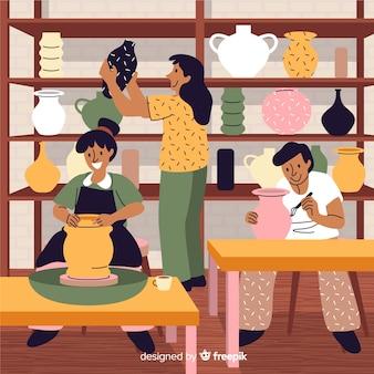 Colección de gente haciendo alfarería