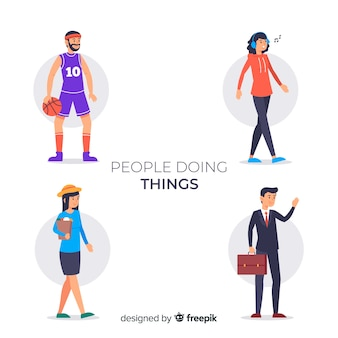 Colección gente haciendo cosas