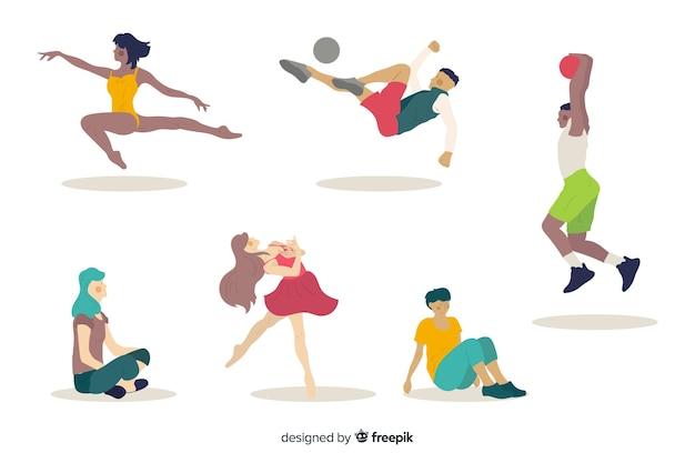 Colección gente haciendo deporte