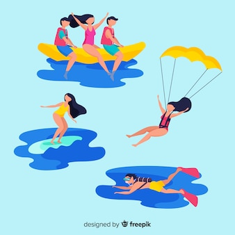 Colección gente haciendo deportes acuáticos