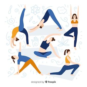 Colección gente haciendo yoga