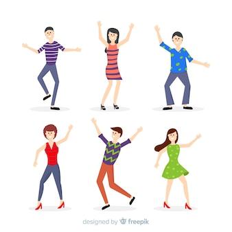 Colección gente joven bailando dibujada a mano