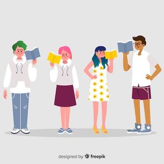 Colección de gente joven leyendo