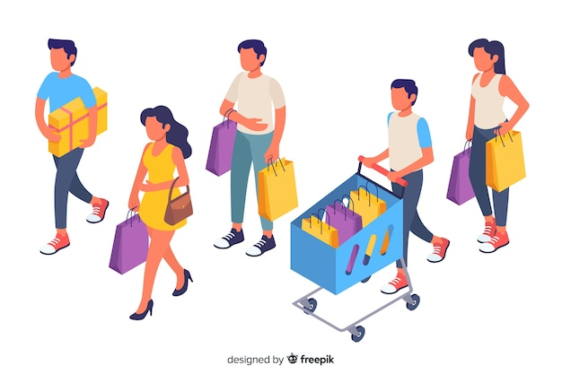 Colección de gente llevando bolsas de la compra